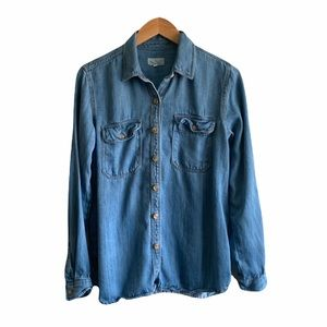 Thread & Supply chambray denim shirt button down chest pockets size small
